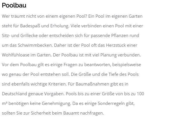 Poolbau in  Dortmund
